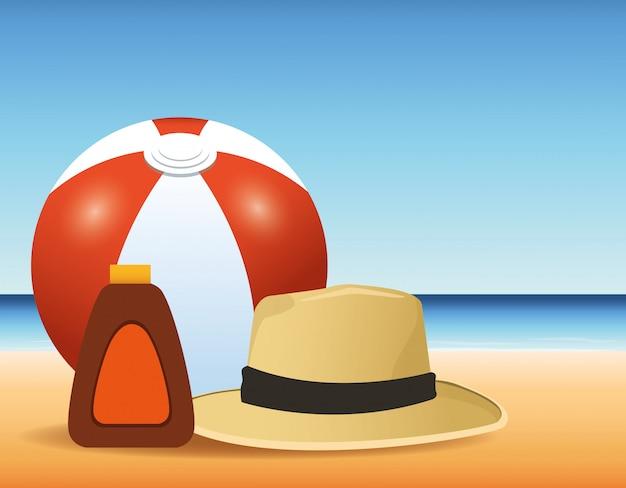 Zomertijd in strand bal zon bronzer vakanties
