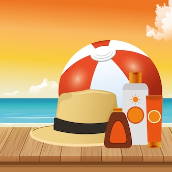 Zomertijd in strandbal hoed crèmes huidverzorging vakanties