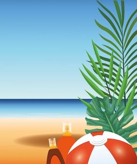Zomertijd in strandbal sunblock fles verlaat vakanties