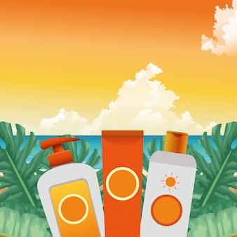 Zomertijd in strandvakanties fles crèmes huidverzorging zon blokkeert gebladerte keerkring