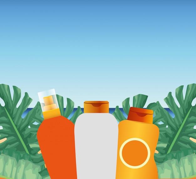 Zomertijd in strandvakanties fles crèmes sunblock gebladerte palm monstera