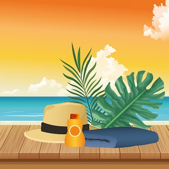 Zomertijd in strandvakanties hoed handdoek sunblock gebladerte palmen