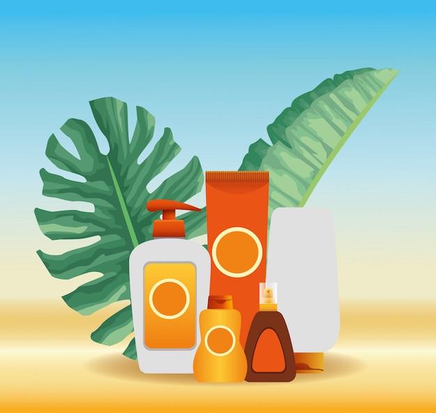 Zomertijd in strandvakanties zon bronzer en sunblock creme huidverzorging tropisch gebladerte