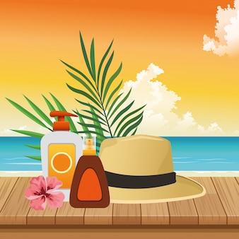 Zomertijd in strandvakanties zon bronzer en sunblock spray hat bloembladeren