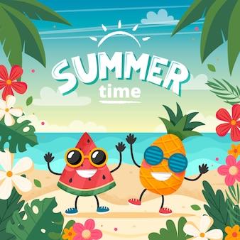 Zomertijd kaart met fruit karakter, strand landschap, belettering en bloemen frame.