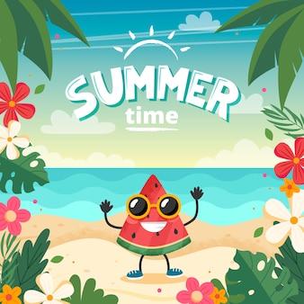 Zomertijd kaart met watermeloen karakter, strand landschap, belettering en bloemen frame.
