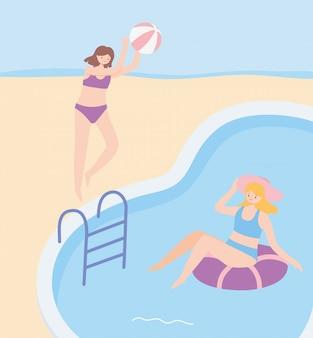 Zomertijd meisjes met strandbal en drijven in zwembad vakantie toerisme illustratie