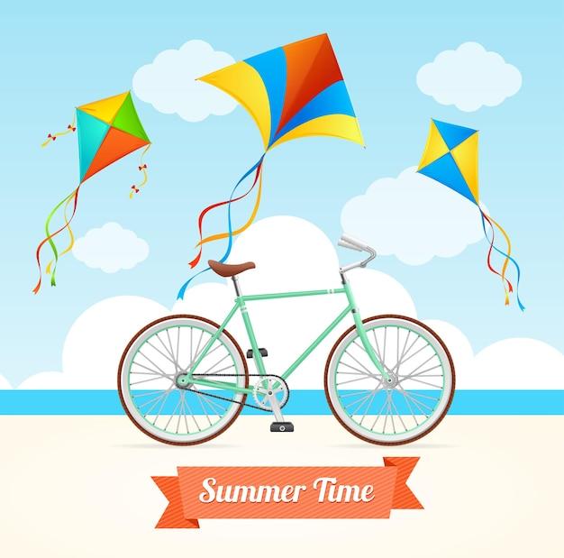 Zomertijd met kite en bike.