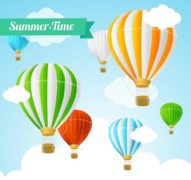 Zomertijd met kleurrijke heteluchtballonnen.