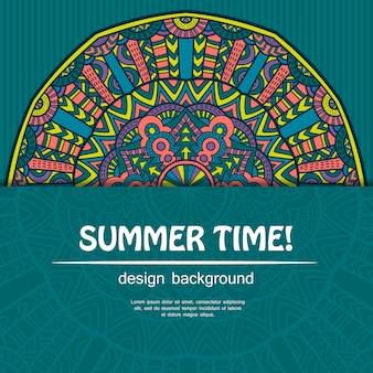 Zomertijd met mandala ontwerp. etnische achtergrond.