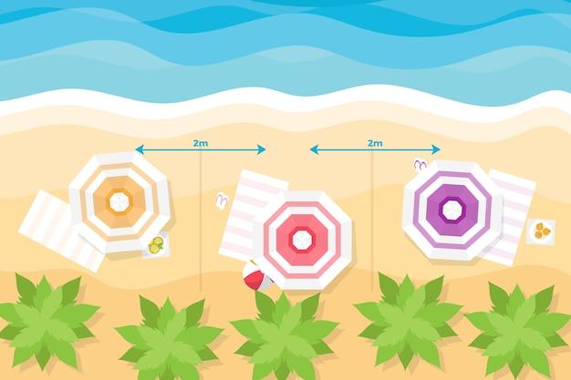 Zomertijd op het strand en sociale afstands concept