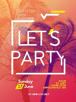 Zomertijd partij poster ontwerpsjabloon met palmen bomen silhouetten. moderne stijl. vector illustratie