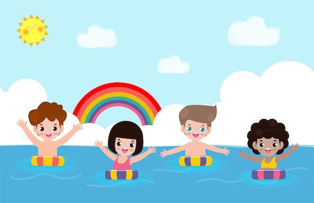 Zomertijd schattige kinderen in zwemmen en rubberen ring in de zee cartoon