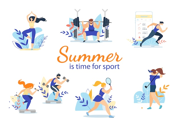Zomertijd sportactiviteiten set geïsoleerd op wit