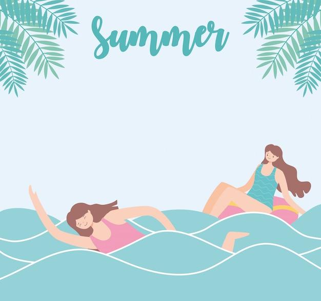 Zomertijd strandvakantie toerisme meisje zwemmen in de zee en de vrouw in de vlotter illustratie