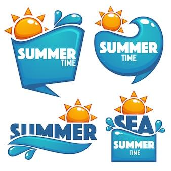 Zomertijd, vector collectie van water en zon stickers banners en bubbels voor uw tekst