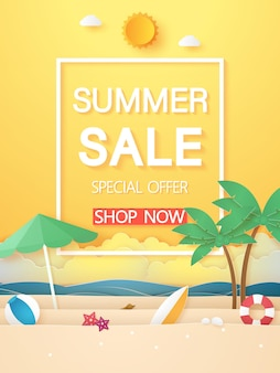 Zomertijd, zee en strand met kokospalm en zo, papierkunststijl