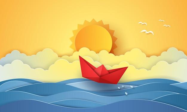 Zomertijd, zee met origami-boot en zon, papierkunststijl