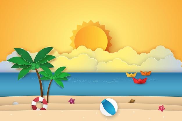 Zomertijd, zee met origami-boot, strand en kokospalm, papierkunststijl