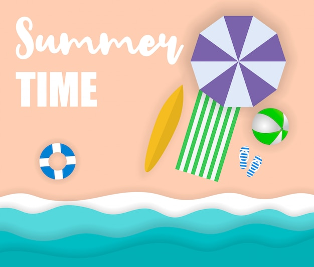 Zomertijd, zee met strand en kokospalm, papierkunststijl