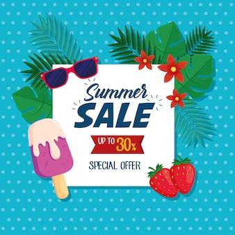 Zomeruitverkoop banner, kortingsposter met zonnebril, ijs, aardbeien, tropische bladeren, bloemen, uitnodiging om te winkelen met zomeruitverkoop tot dertig procent