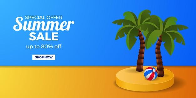 Zomeruitverkoop banner promotie kortingsbanner met cilinderpodiumvertoning met kokospalm met bal en blauw en oranje