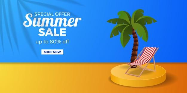 Zomeruitverkoop banner promotie kortingsbanner met cilinderpodiumvertoning met kokospalm met stoel en blauw en oranje