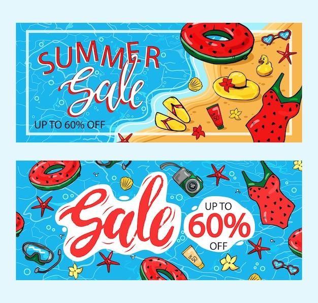 Zomeruitverkoop poster met 60% korting. tekst- en zomerelementen om de marketing van de winkel te promoten.