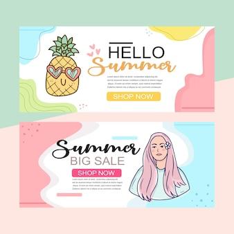 Zomeruitverkoopbanner met schattige ananastekening voor kinderproduct
