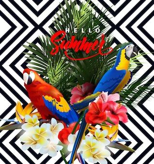 Zomervakantie achtergrond met tropische bloemen met kleurrijke tropische papegaaien. belettering hallo zomer sjabloon vector.