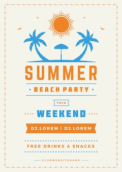 Zomervakantie beach party flyer en typografie vector ontwerpsjabloon.