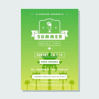 Zomervakantie beach party flyer nachtclub evenement