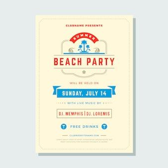 Zomervakantie beach party flyer typografie nachtclub evenement