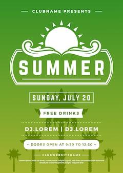 Zomervakantie beach party poster nachtclub evenement