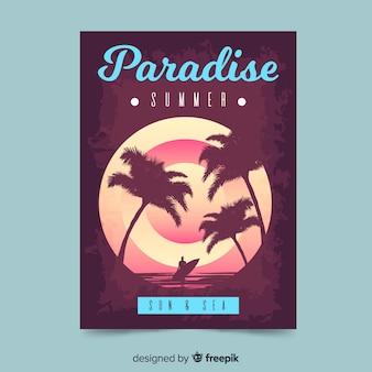 Zomervakantie briefkaart palmen silhouetten