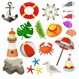Zomervakantie elementen collectie mariene vector illustratie