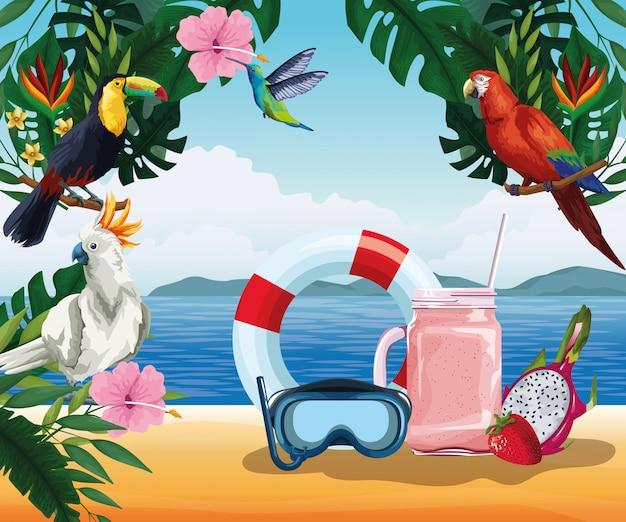 Zomervakantie en strand in cartoon stijl