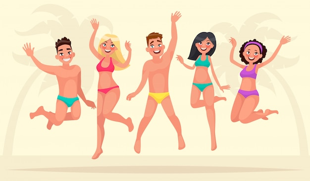 Zomervakantie. gelukkig groep jongeren springen op de achtergrond van een tropisch strand.
