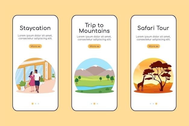 Zomervakantie ideeën onboarding mobiele app scherm platte vector sjabloon. walkthrough website 3 stappen met landschappen. creatieve bestemmingen ux, ui, gui smartphone cartoon interface, case prints set