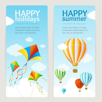 Zomervakantie kaartenset met vlieger en ballon. verticaal. vector illustratie
