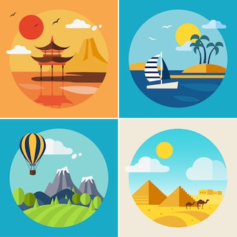 Zomervakantie landschap illustraties set