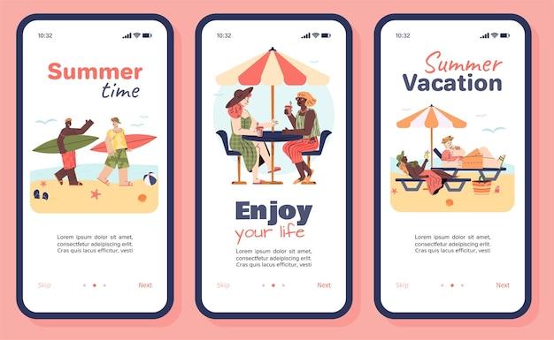 Zomervakantie mobiele app ingesteld op smartphonescherm met tekenfilmmensen