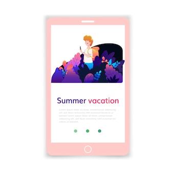 Zomervakantie mobiele sjabloon, webpagina- en bestemmingspagina-ontwerp voor website-ontwikkeling.