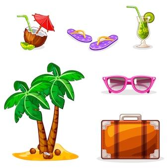 Zomervakantie of vakantie elementen set