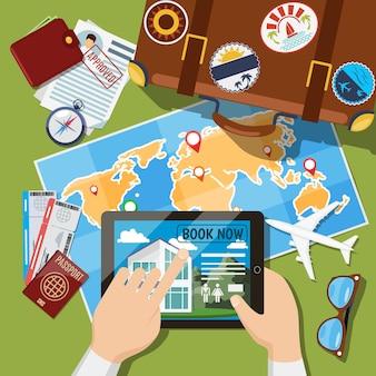 Zomervakantie of vakantiereis plannen. koffer, kaart en vliegtickets bovenaanzicht. reizen toerisme illustratie