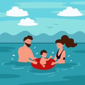 Zomervakantie op het strand. de familie zwemt in de zee. vader en moeder leren een kind zwemmen. platte stripfiguren.