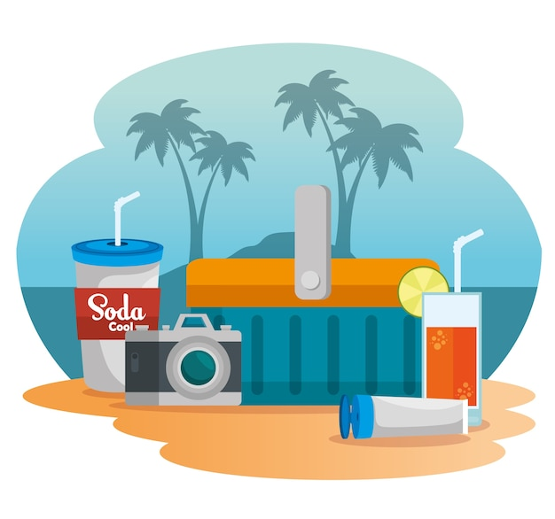 Zomervakantie op strandaffiche