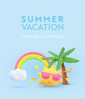 Zomervakantie realistische ontwerpsjabloon met zon en palmboom