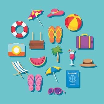 Zomervakantie reizen, set pictogrammen omvatten koffer palm cocktail