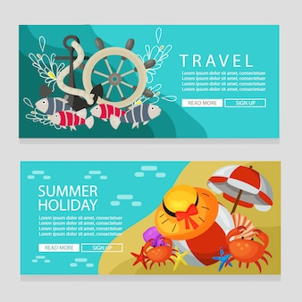 Zomervakantie reizen thema banner mariene thema vectorillustratie
